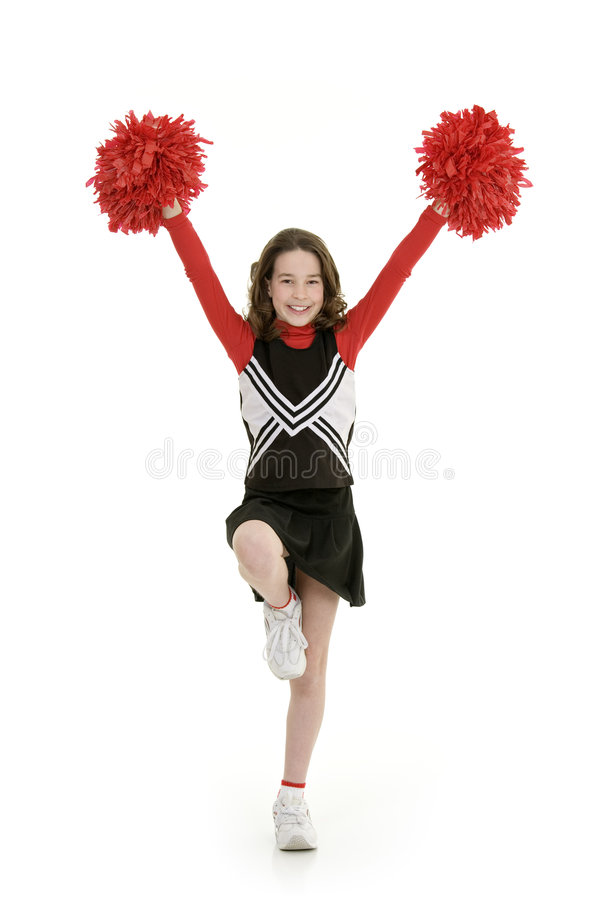Free Ten Year Old Caucasian Girl Dressed As A Red Cheerleader Outfit Royalty Free Stock Photos - 8529028