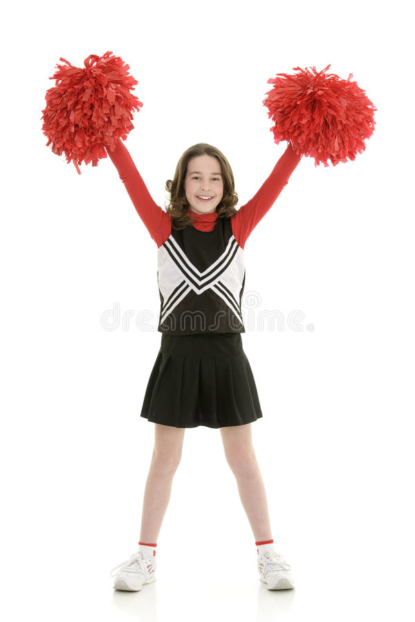 Free Ten Year Old Caucasian Girl Dressed As A Red Cheerleader Outfit Stock Image - 8529031