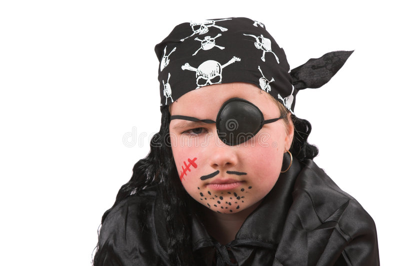 Ten year old girl dressed up as pirate stock photo