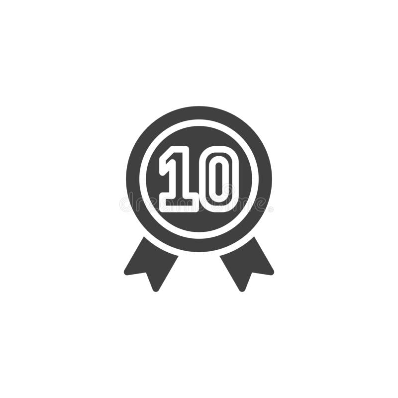 Ten year warranty badge vector icon. Filled flat sign for mobile concept and web design. 10 year guarantee certificate glyph icon. Symbol, logo illustration stock illustration