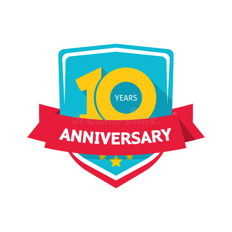 Ten years anniversary sticker vector, color 10th party label royalty free illustration