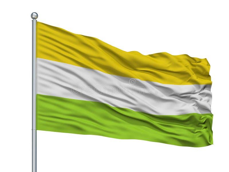Tena City Flag On Flagpole, Colombia, departamento de Cundinamarca, aislado en el fondo blanco libre illustration