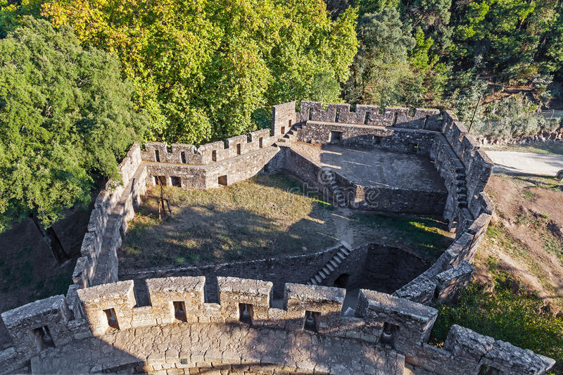 Tenaille defensive structure seen from the keep top of the Feira Castle. royalty free stock image