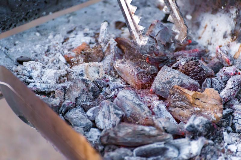 Tenazes de brasa da posse da mão e fogo do carvão vegetal da doninha imagens de stock royalty free