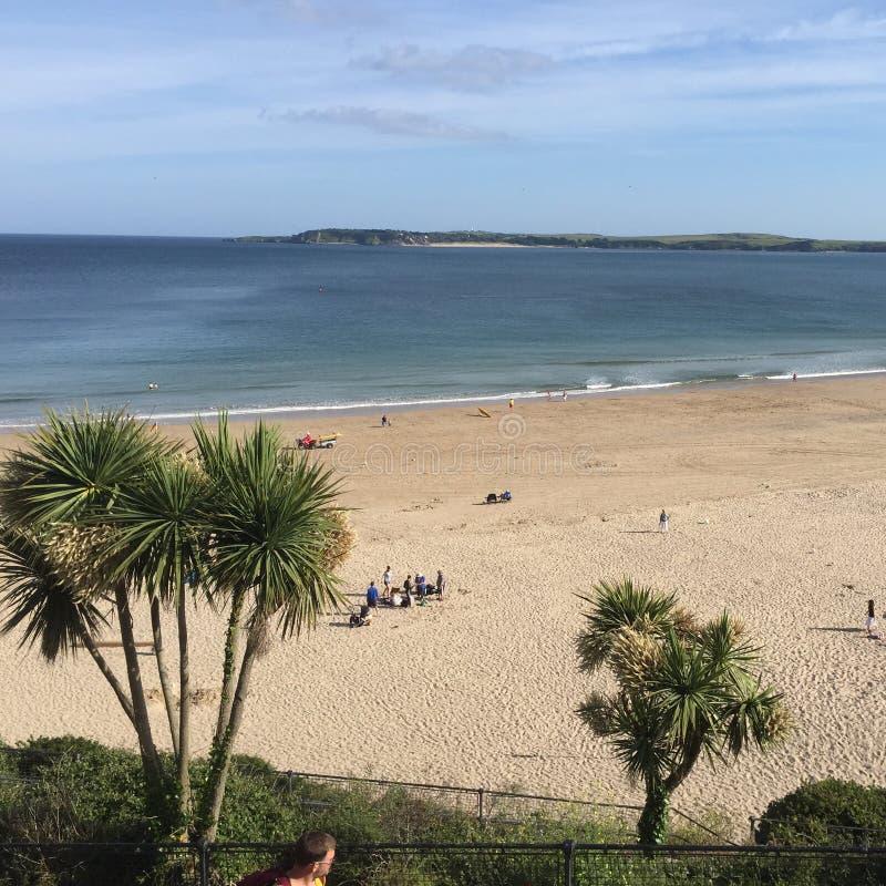 Tenby海滩, Pembrokeshire,威尔士 免版税库存照片