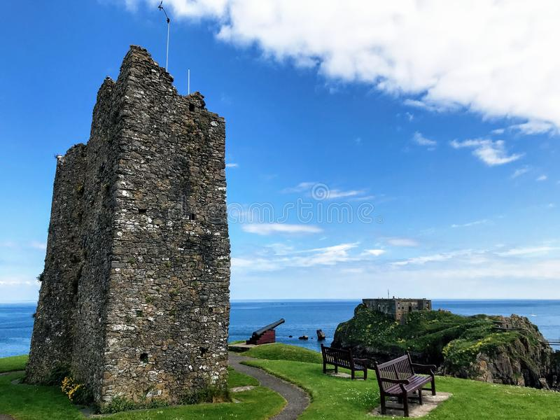 Tenby Castle. Welsh: Castell Dinbych-y-pysgod was a fortification standing on a headland separated by an isthmus from the town of Tenby, Pembrokeshire, Wales royalty free stock photography