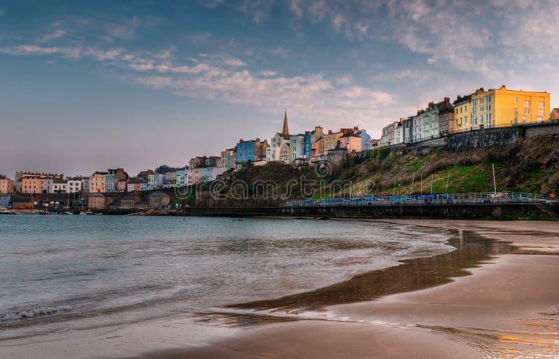 Tenby, de Zonsondergang van Wales op het Strand stock foto