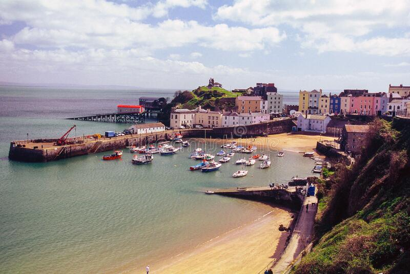 Tenby harbour in wales stock photo