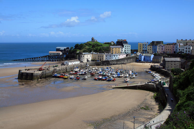 Tenby low tide royalty free stock photography