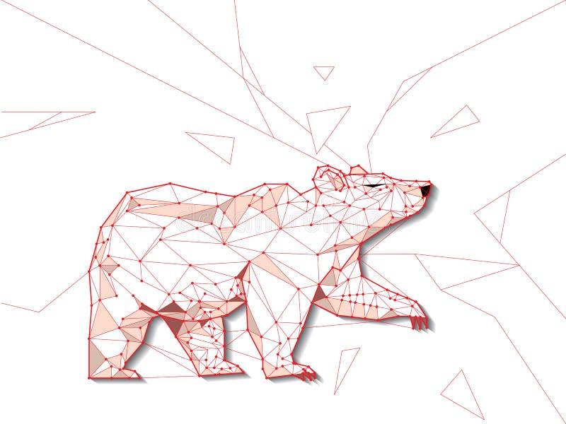 Tendência bearish do baixo polígono do quadro do fio do URSO, tecnologia que troca FO ilustração royalty free