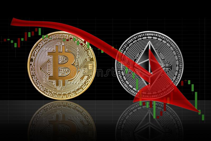 Tendência Bearish no mercado do cryptocurrency do bitcoin e do ethereum ilustração stock