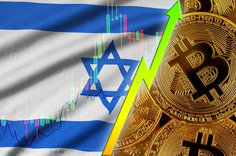 Tendência crescente da bandeira e do cryptocurrency de Israel com muitos bitcoins dourados ilustração stock
