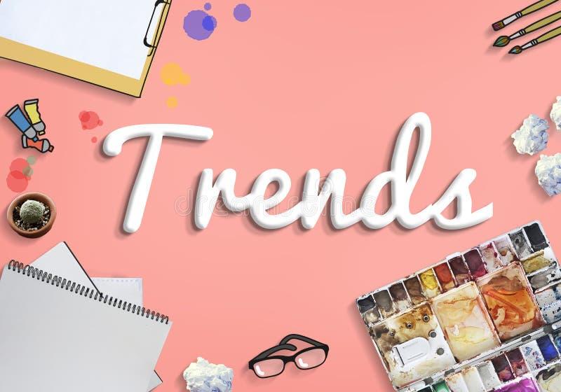 Tendência das tendências que tende o conceito de projeto na moda do estilo da forma fotos de stock