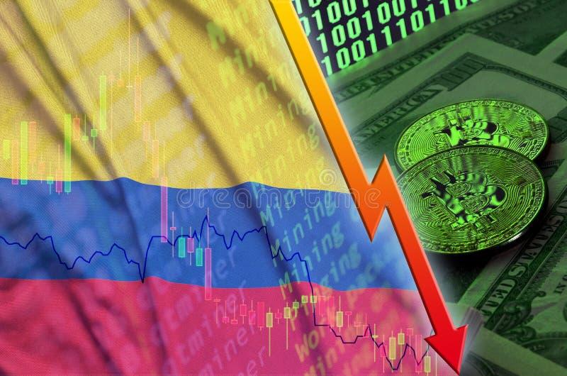 Tendência de queda da bandeira e do cryptocurrency de Colômbia com dois bitcoins em notas de dólar e em exposição do código binár ilustração do vetor