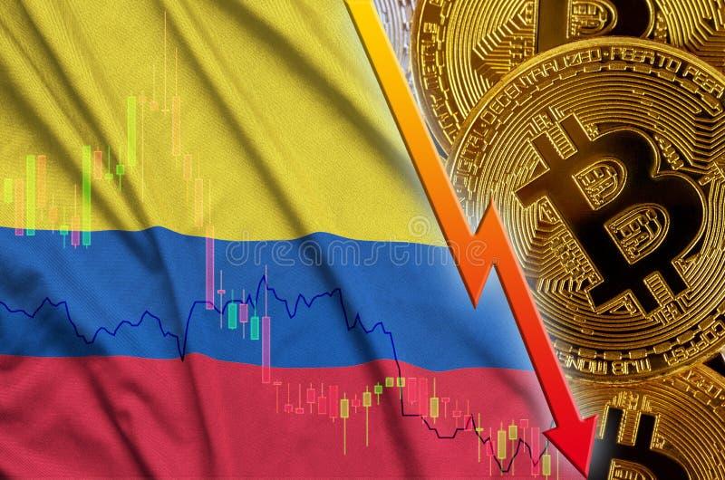 Tendência de queda da bandeira e do cryptocurrency de Colômbia com muitos bitcoins dourados ilustração stock