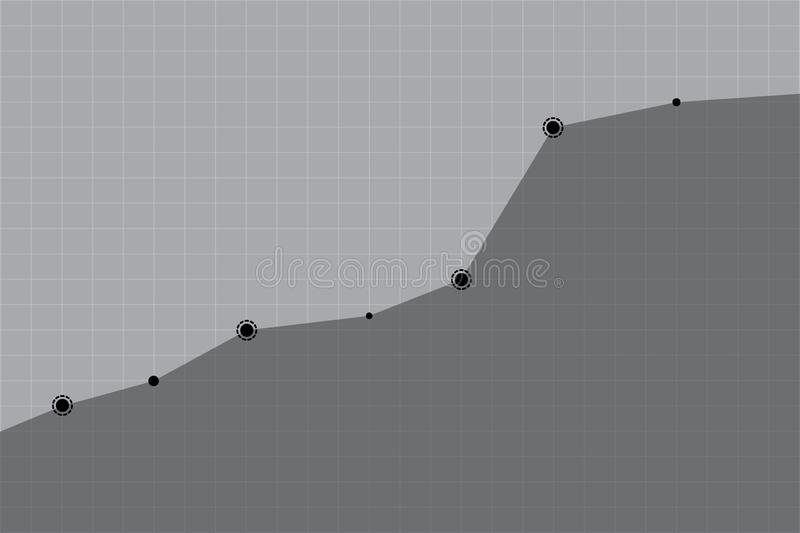 Tendência do crescimento ascendente do negócio ou da organização na ilustração cinzenta ou preta do vetor do fundo da grade ilustração royalty free
