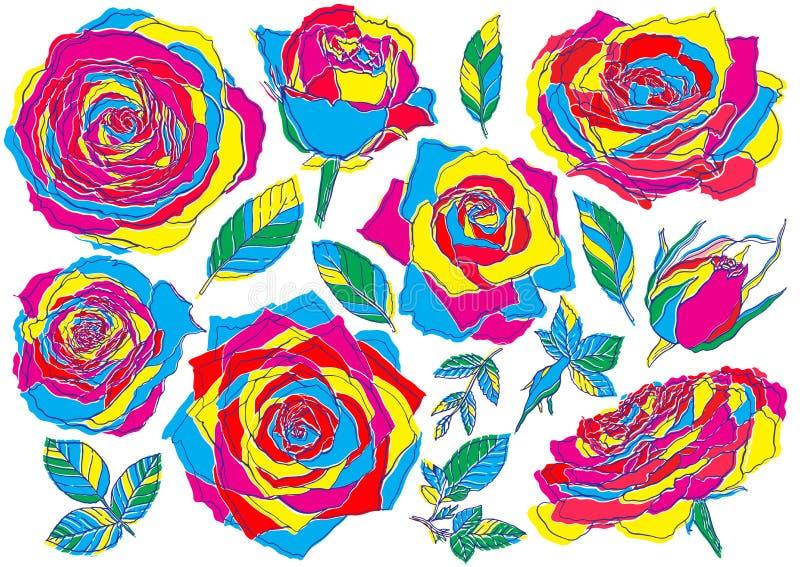 Tend?ncia do pulso aleat?rio das rosas das flores, de cor de CMYK bot?es e folhas verdes Ajuste a cole??o Isolado no fundo branco ilustração do vetor