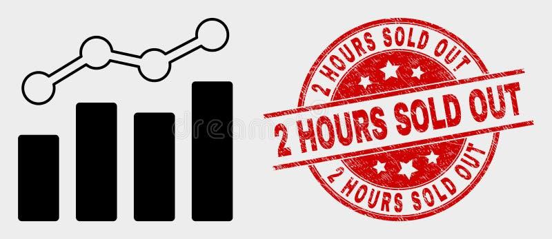 A tendência do vetor faz um mapa do ícone e do Grunge 2 horas de selo para fora vendido ilustração do vetor
