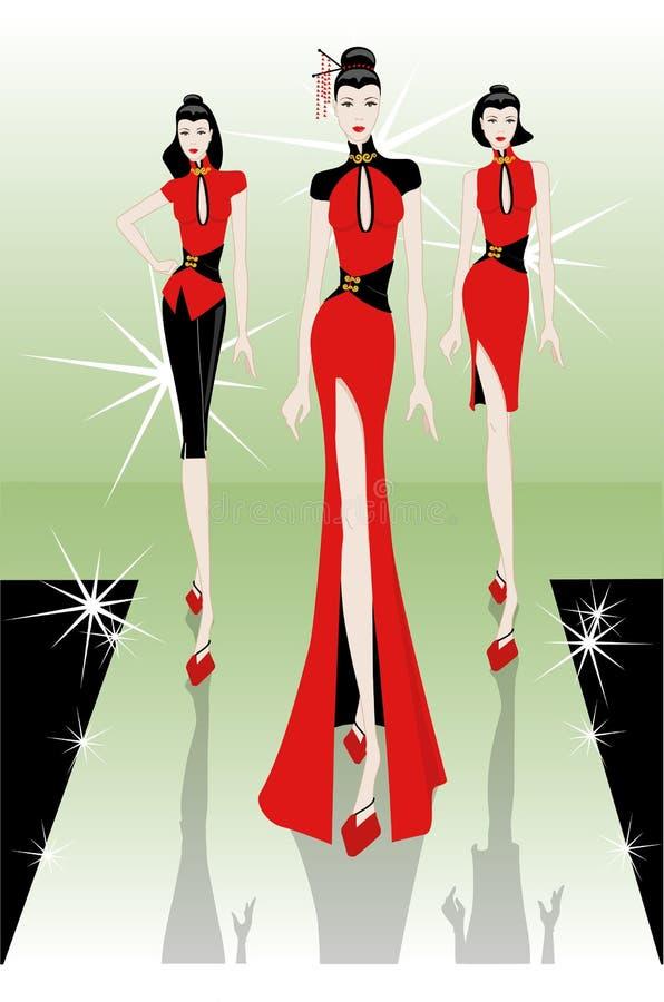 Tendência oriental do desfile de moda ilustração royalty free