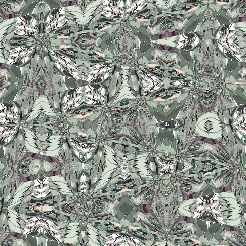 Tendência prata e aztec padrão tribal cinza padrão geométrico zigzag ilustração royalty free