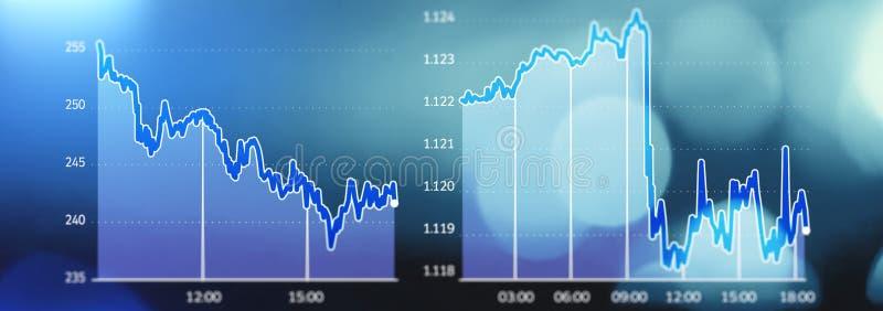 Tendências do mercado de valores de ação, impacto do mercado, salário perdido, falido Exposição gráfica de partes de mercado na q ilustração royalty free