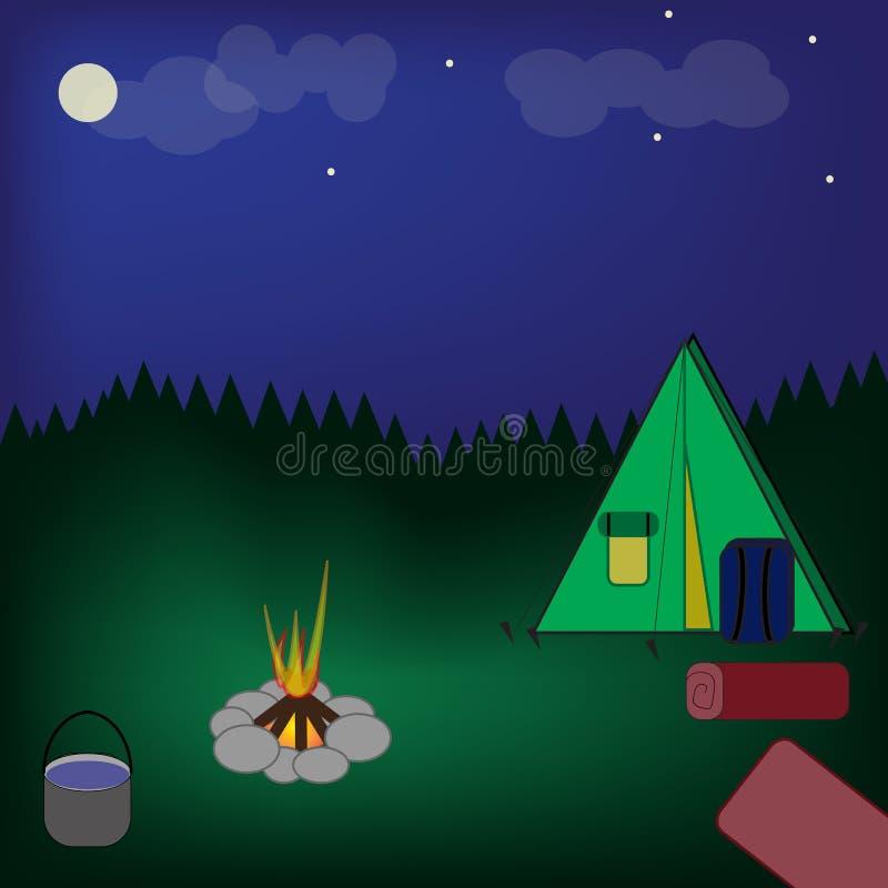 Tenda al fuoco di accampamento Luna e nuvole al cielo notturno di estate Foresta vicino al campo royalty illustrazione gratis