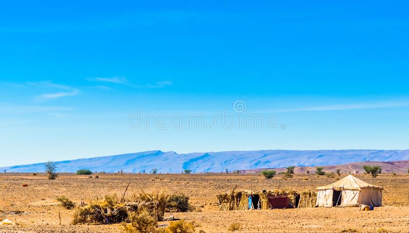 Tenda beduina nel deserto del Sahara del Marocco accanto al ` Hamid di m. fotografie stock