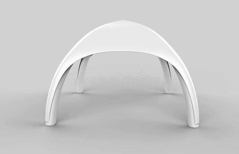Tenda in bianco bianca dell'arco gonfiabile di pubblicità del ragno della cupola di pop-up 3d rendono l'illustrazione illustrazione vettoriale