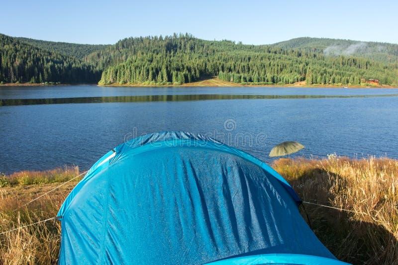 Tenda blu dal lato del lago, primo mattino fotografie stock libere da diritti