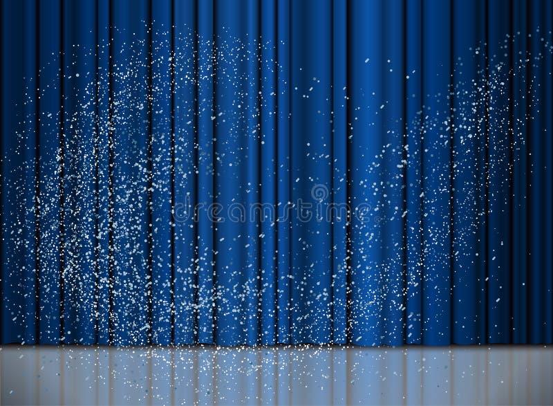 Tenda blu del nuovo anno e di Natale con una neve royalty illustrazione gratis