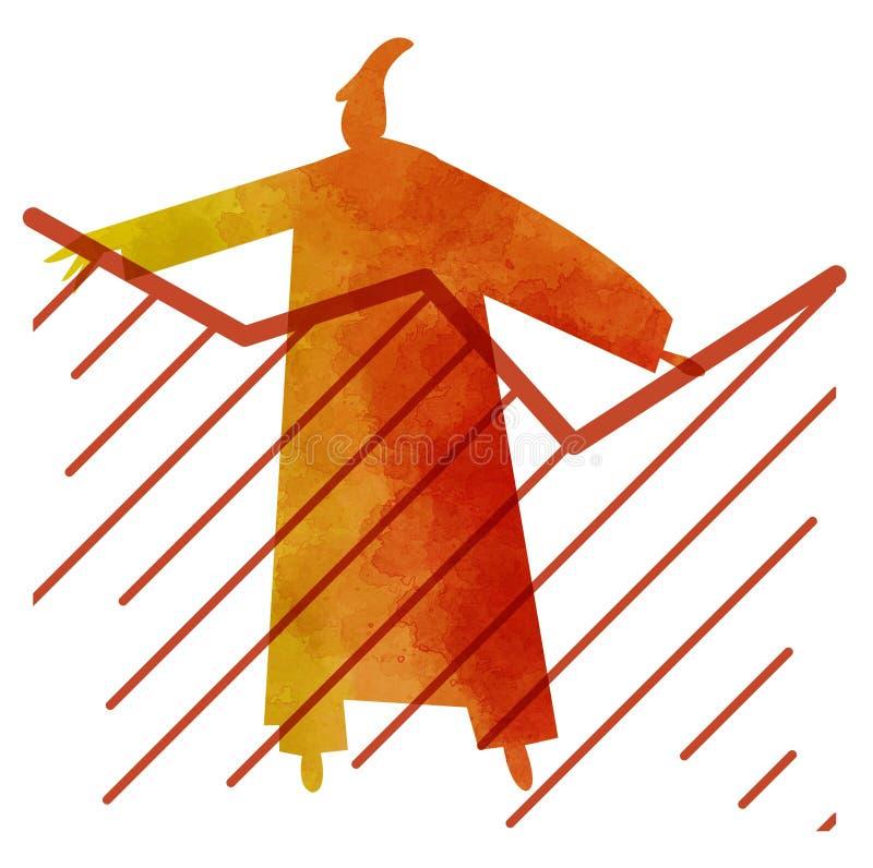 Tenda com a pessoa, silhueta estilizado do desenho de uma pessoa com tendências em suas mãos ilustração stock