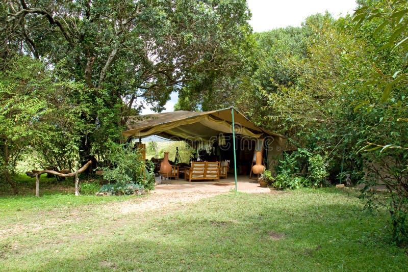 Tenda del salotto dell'accampamento di safari fotografia stock