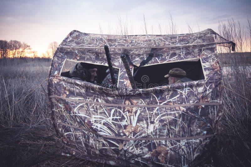 Tenda di caccia con i cacciatori che aspettano preda in cespugli a lamella fotografia stock