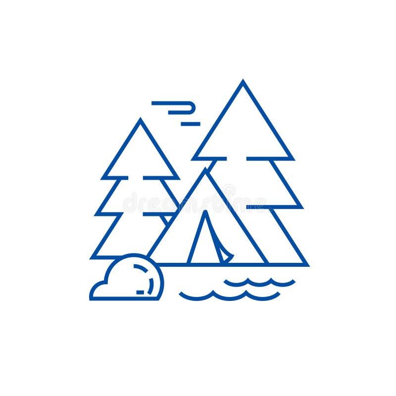 Tenda di campeggio nella linea concetto della foresta dell'icona Tenda di campeggio nel simbolo piano di vettore della foresta, s illustrazione vettoriale