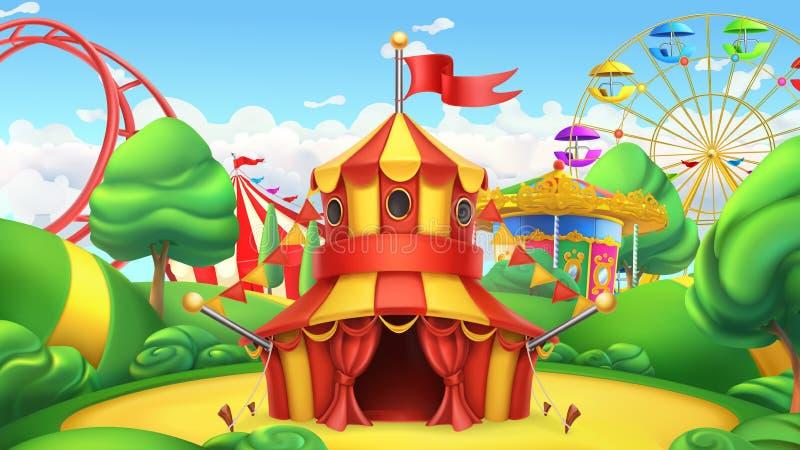 Tenda di circo Parco di divertimenti Paesaggio di vettore illustrazione di stock