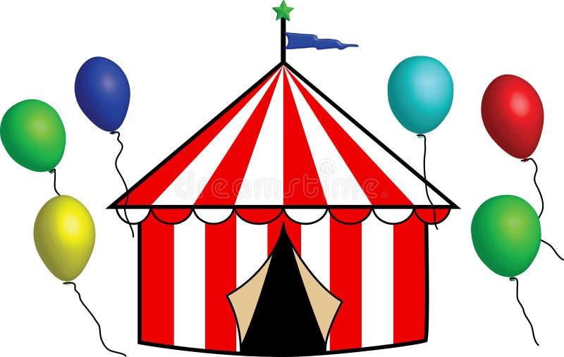 Tenda di circo a strisce luminosa con gli aerostati immagini stock libere da diritti