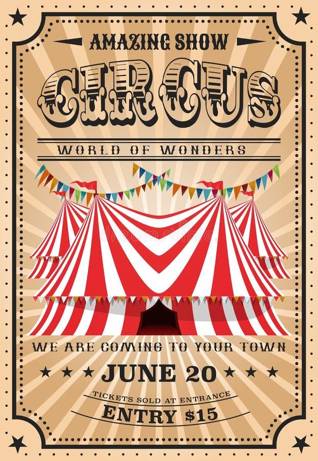 Tenda di circo superiore pungente, manifestazione d'annata della luna park illustrazione di stock