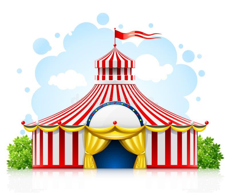 Tenda di passeggiata a strisce della tenda foranea del circo con la bandierina illustrazione vettoriale