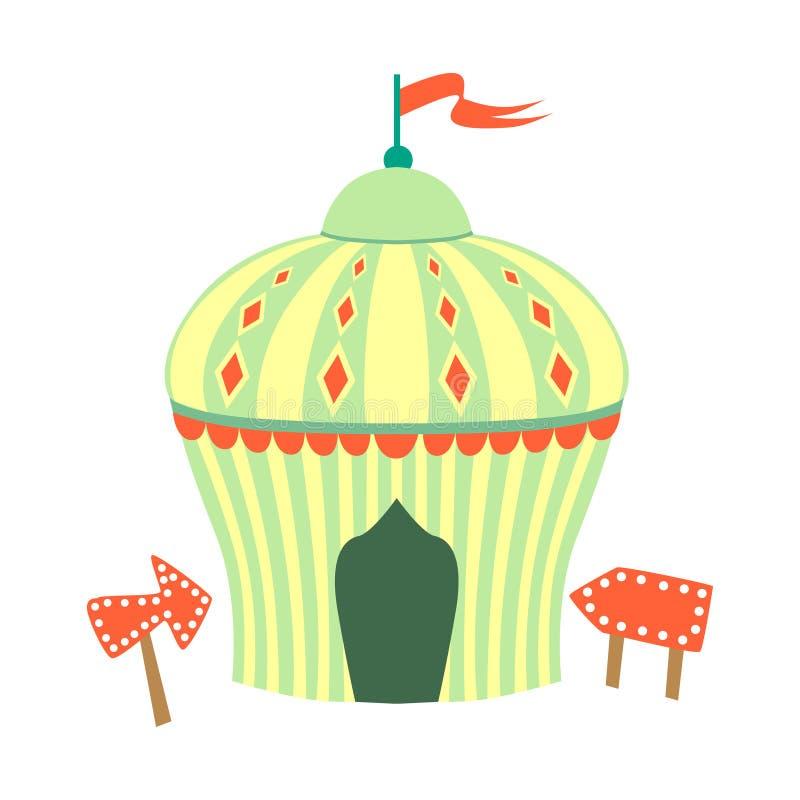 Tenda do circus amarela e verde, parte do parque de diversões e série justa de ilustrações lisas dos desenhos animados ilustração do vetor