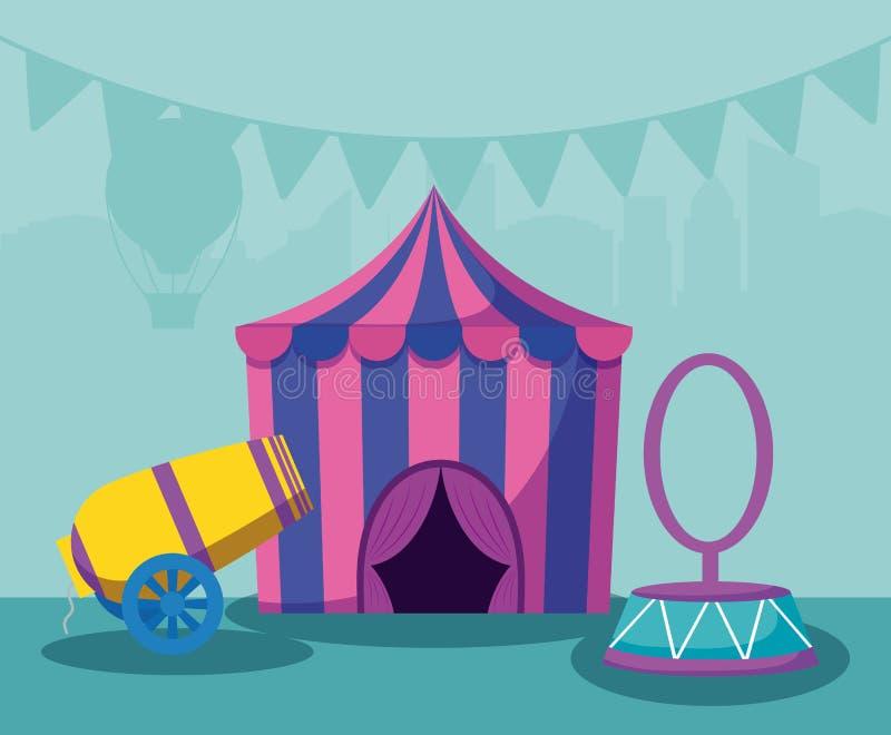 Tenda do circus com canhão e anel ilustração royalty free