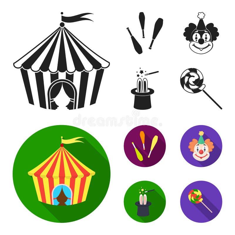 Tenda do circus, macis do juggler, palhaço, chapéu do mágico Ícones ajustados da coleção do circo no estoque preto, liso do símbo ilustração stock