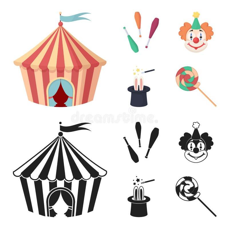 Tenda do circus, macis do juggler, palhaço, chapéu do mágico Ícones ajustados da coleção do circo nos desenhos animados, estoque  ilustração do vetor