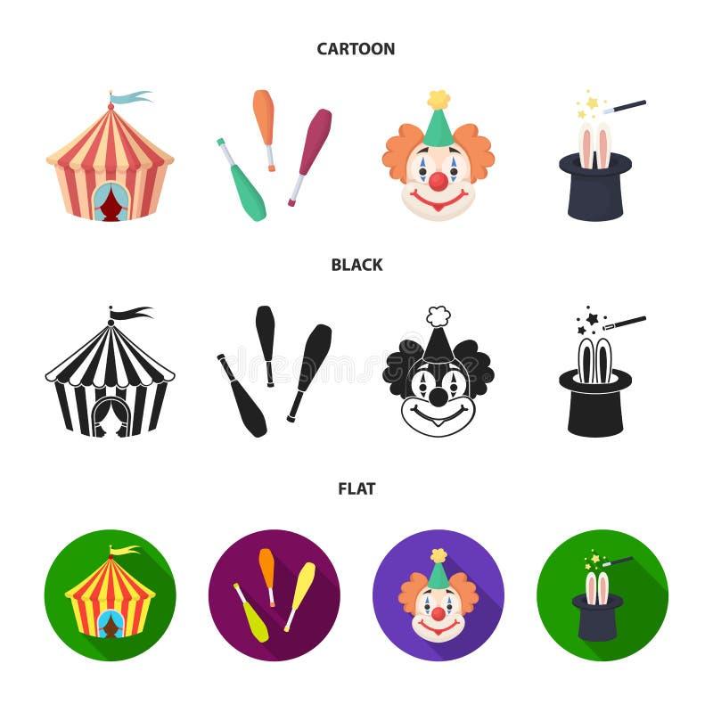 Tenda do circus, macis do juggler, palhaço, chapéu do mágico Ícones ajustados da coleção do circo nos desenhos animados, preto, s ilustração stock