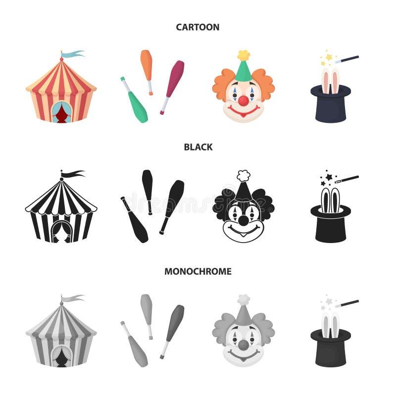 Tenda do circus, macis do juggler, palhaço, chapéu do mágico Ícones ajustados da coleção do circo nos desenhos animados, preto, v ilustração royalty free