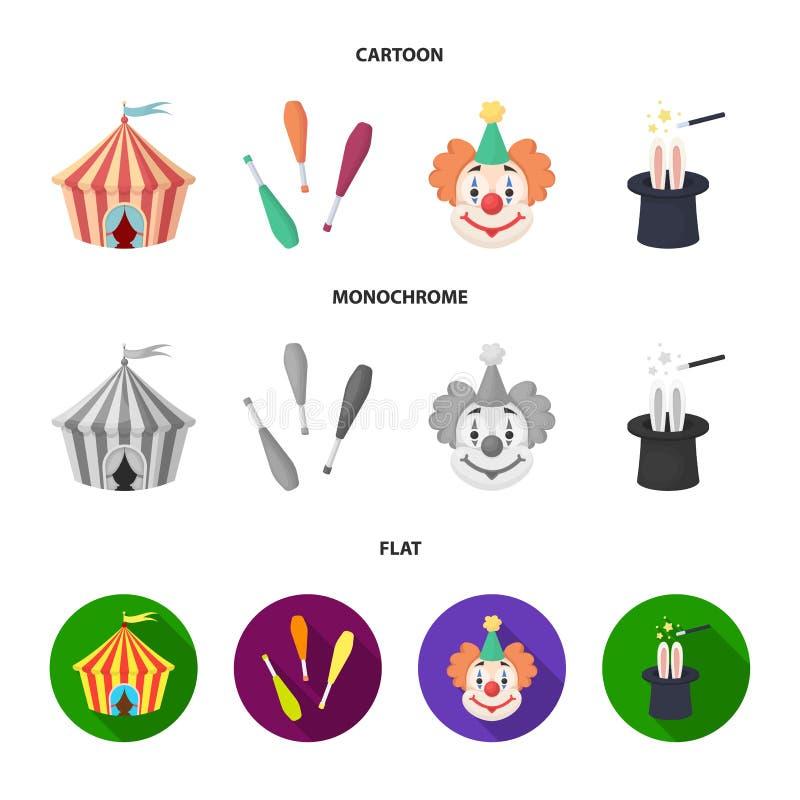 Tenda do circus, macis do juggler, palhaço, chapéu do mágico Ícones ajustados da coleção do circo nos desenhos animados, vetor li ilustração royalty free
