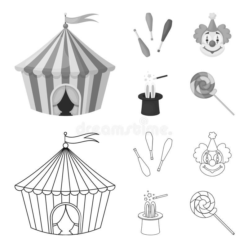 Tenda do circus, macis do juggler, palhaço, chapéu do mágico E ilustração do vetor