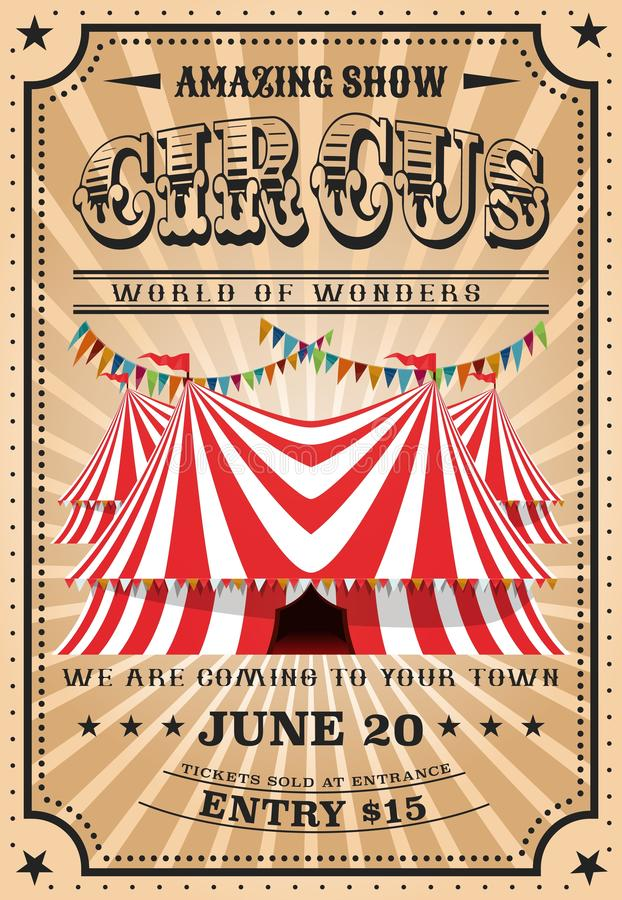 Tenda do circus superior mordida, mostra do funfair do vintage ilustração stock