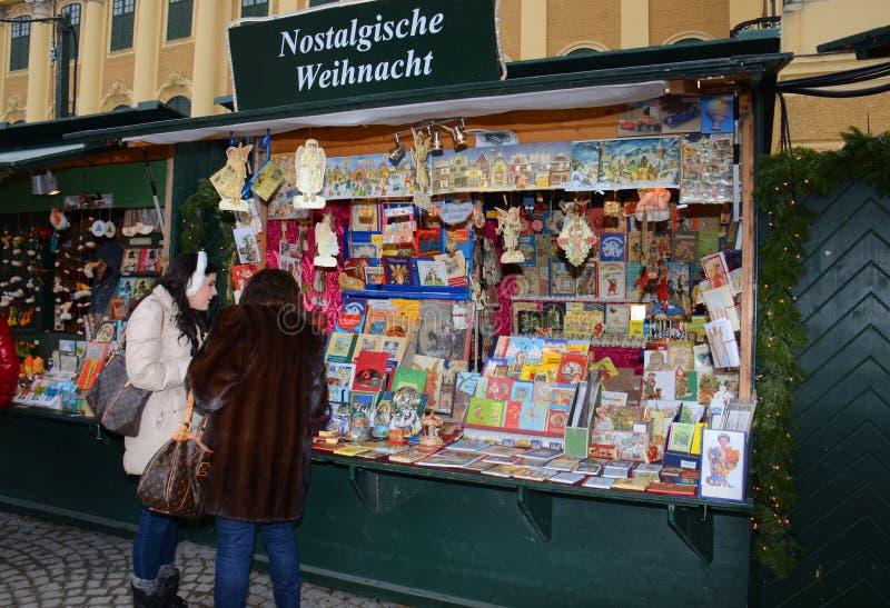 Tenda do mercado do Natal, Viena foto de stock