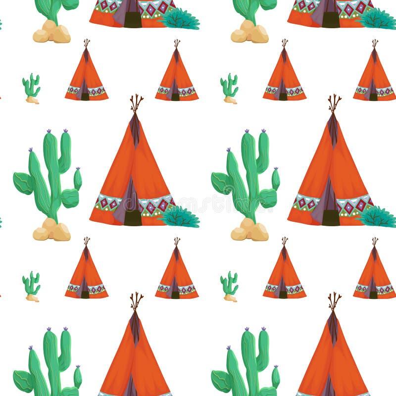 Tenda e cactus royalty illustrazione gratis