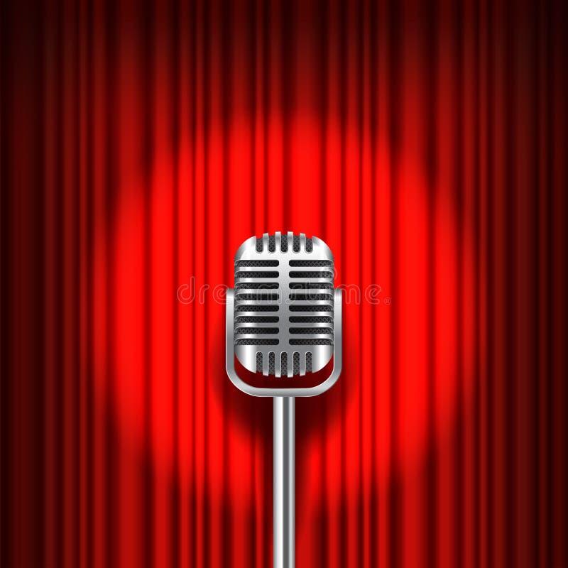 Tenda e fase rosse con il vettore del microfono illustrazione vettoriale